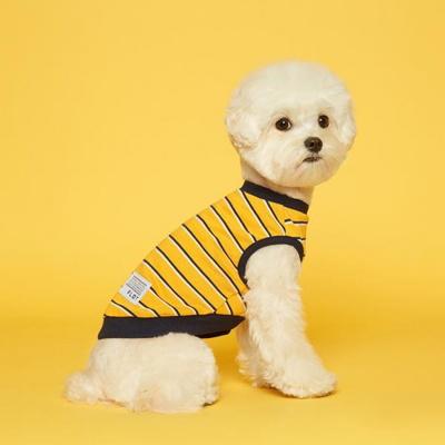 플로트 강아지옷 민소매 스트라이프 티셔츠 - 옐로우네이비