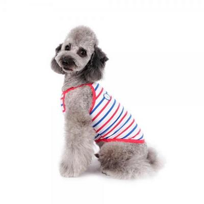 강아지옷 쿨스트라이프 나시 -핫핑크블루