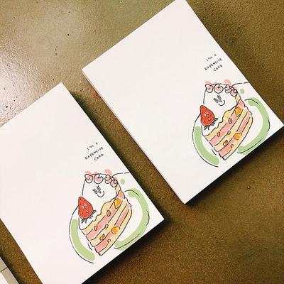마닐마닐 딸기케이크 비접착 떡메모지