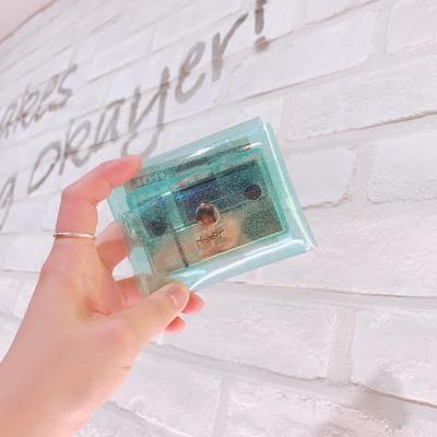 스카이블루 반짝이 사각파우치 (카드지갑)