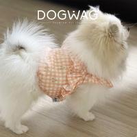 도그웨그 체크 프릴 크롭탑 강아지 민소매 여름 옷