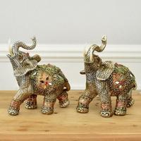 데일리데코 엘리즈 엔틱 코끼리 장식 1쌍-소