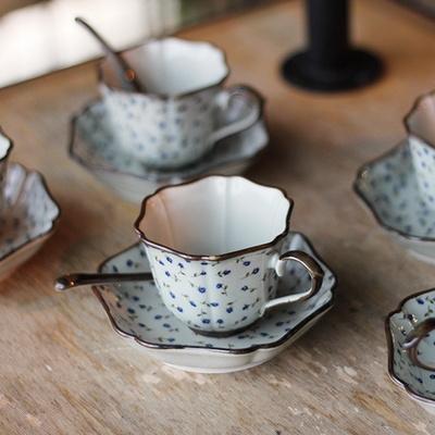 일제 아리타 블루로즈 5인조 찻잔세트 커피잔세트