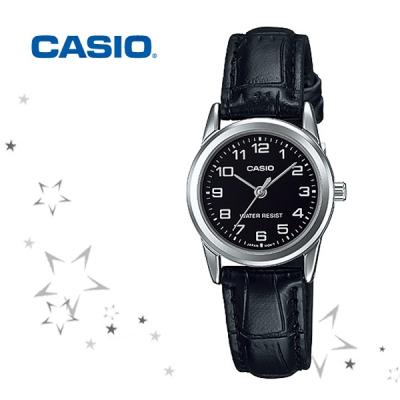 카시오 LTP-V001L-1B 여성 가죽 아날로그 손목 시계