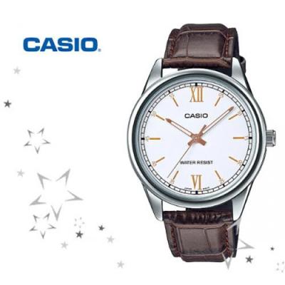 MTP-V005L-7B3 남성 가죽 손목 시계
