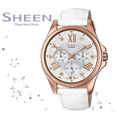 SHE-3806GL-7A 여성 가죽 손목 시계