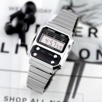 공용 엔틱 복고풍 메탈 디지털 시계 A100WE-1A