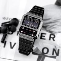 공용 빈티지 메탈 디지털 시계 A100WEGG-1A