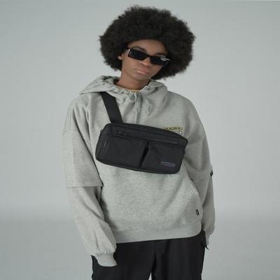 Two pocket waistbag-black