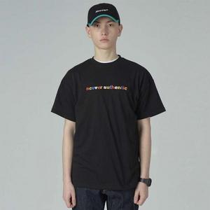 Block color logo tshirt-black