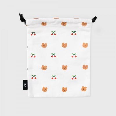 dot cherry bear-white(스트링 파우치)