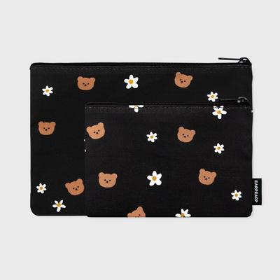 Dot flower bear-black(파우치)(S)