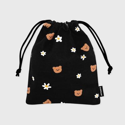 Dot flower bear-black(스트링파우치)