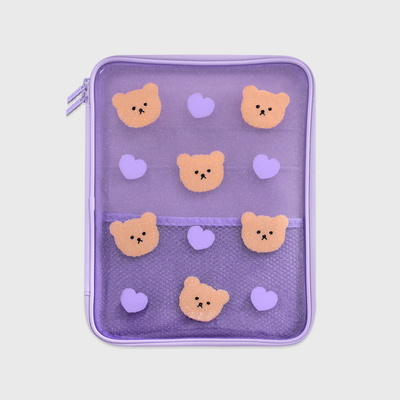 Dot love and bear-purple(PVC 파우치)