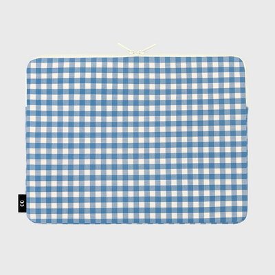 Dot strawberry check-blue-15inch notebook pouch(15인치 노트북 파우치)