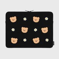 Dot flower bear-black-15inch notebook pouch(15인치 노트북파우치)