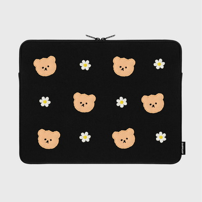 Dot flower bear-black-15inch notebook pouch(15인치 노트북파우치)
