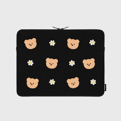Dot flower bear-black-13inch notebook pouch(13인치 노트북파우치)