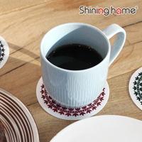 튤립 실리콘 컵받침 원형 4P