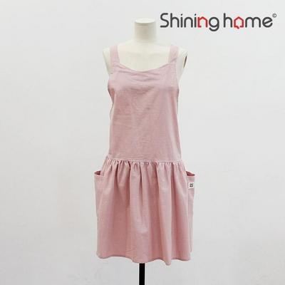 루나 수 면린넨 앞치마 핑크