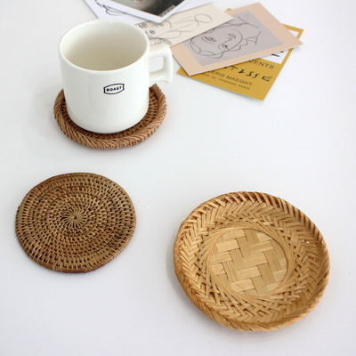 이너스 라탄 원형 접시 소/컵받침