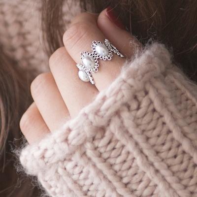 화이트 진주 반지