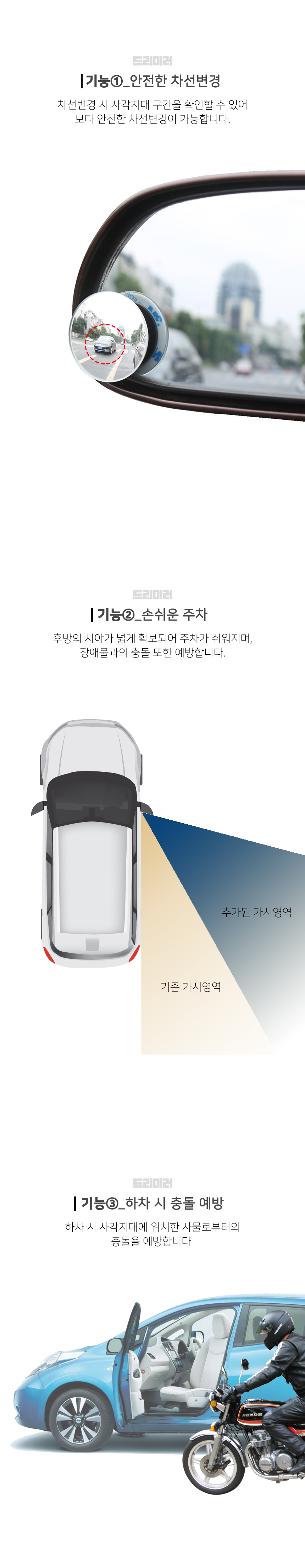 사각지대 보조거울 안전의 꿈(Dream)을 위한 거울(Mirror) 드리미러 - 재미난, 5,000원, 자동차용품, 기타용품