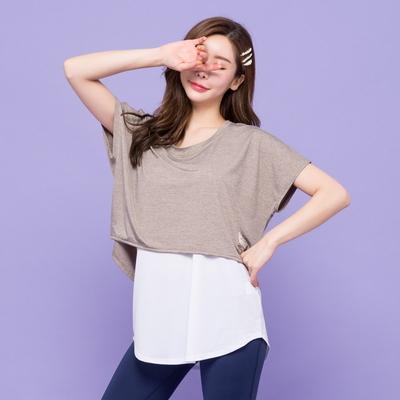 오버랩 커버업 티셔츠 - 롱길이 기능성 티셔츠