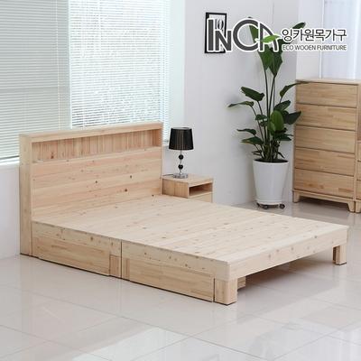 잉카 편백나무 원목 평상형 LED 조명 서랍 침대 퀸사이즈