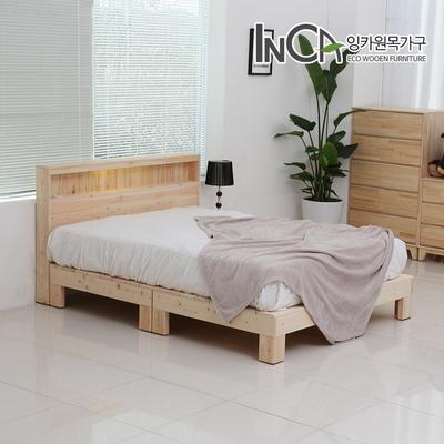 잉카 편백나무 원목 평상형 LED 조명 침대 퀸사이즈