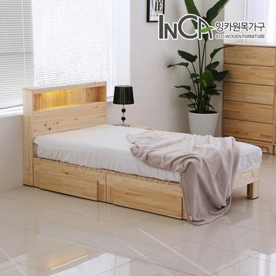 잉카 편백나무 원목 평상형 LED 조명 서랍 침대 슈퍼싱글