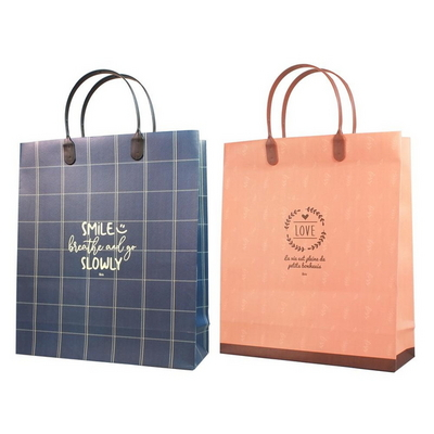 체크 무늬 심플 컬러 선물 쇼핑백