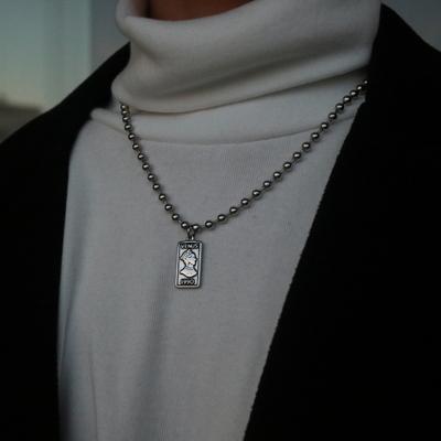 남자 목걸이 남녀공용 구슬 군번줄