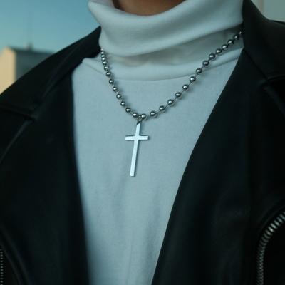 구슬 십자가 남자 목걸이