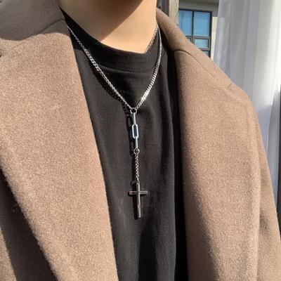 남자 목걸이 Y 십자가 두줄 레이어드 cross set
