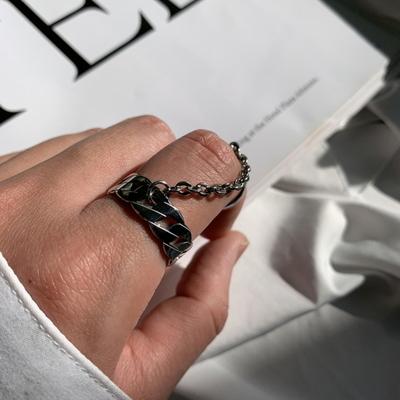 남자 반지 연결 체인 꽈배기 검지 finger chain