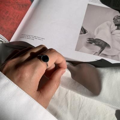 남자 반지 얇은 블랙 펜던트 single black pendant