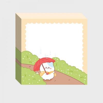 비 오는 날 멜캣 메모지 C162 떡메모지 귀여운메모지