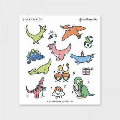 공룡이우왕좌왕A AT2 타투스티커 패션타투 워터타투