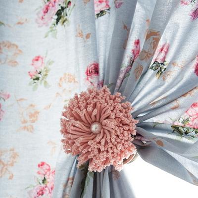 로얄로즈 블루 꽃무늬커튼 - 긴창커튼