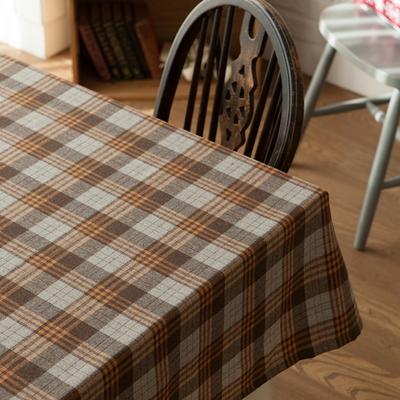 타탄 식탁보 테이블보 베이지 2인용 130x130cm