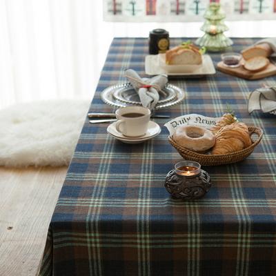 타탄 식탁보 테이블보 네이비 2인용 130x130cm