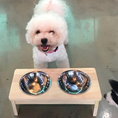 강아지 식탁 - 식기 2구세트 (원목)