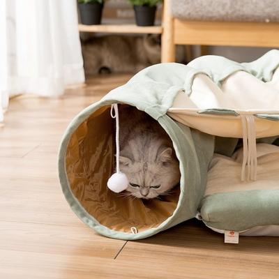 고양이 집 숨숨 용품 방석 장난감 쿠션 올인원 터널 하우스