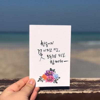 한국의 꽃 캘리그라피 무지엽서 (여름 맨드라미)