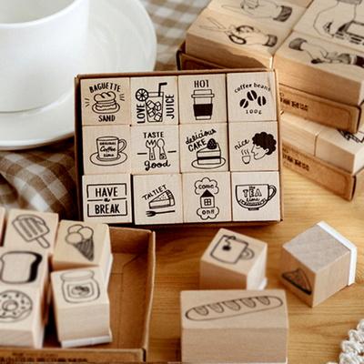 DIY우드스탬프 귀여운 커피빈과 디저트 스탬프