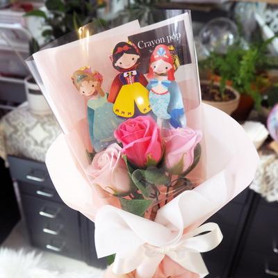 캐릭터 3종 사탕 꽃다발 사탕부케 유치원 졸업식 핑크