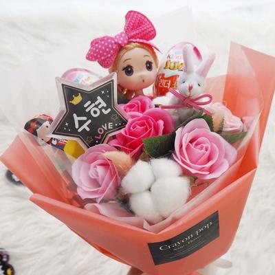 LED 꽃다발 14 진핑 인형 꽃다발 킨더조이 재롱잔치 졸업식 사탕부케