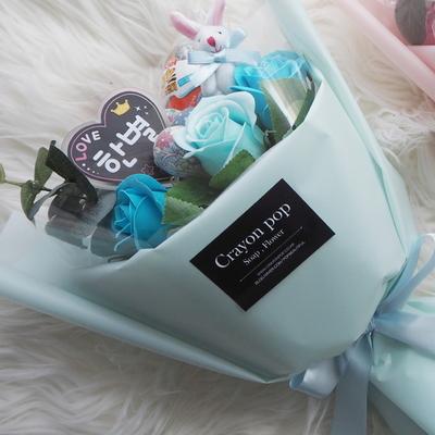 LED 꽃다발 4러블리 블루 킨더조이 꽃다발 재롱잔치 졸업식 사탕부케