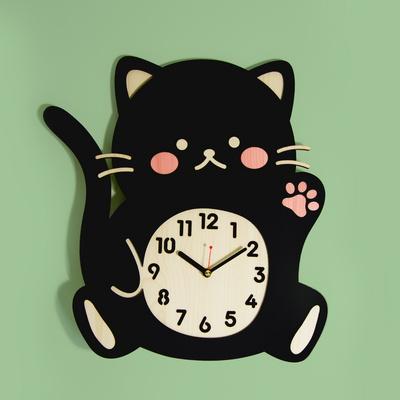 [나룸] WMC-168 까만 고양이 벽시계(무소음)